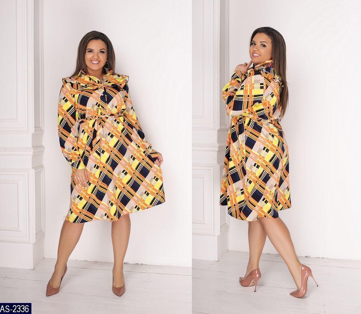 Женское легкое весенне-осеннее миди платье с длинным рукавом (вискоза) 3 цвета (батал)