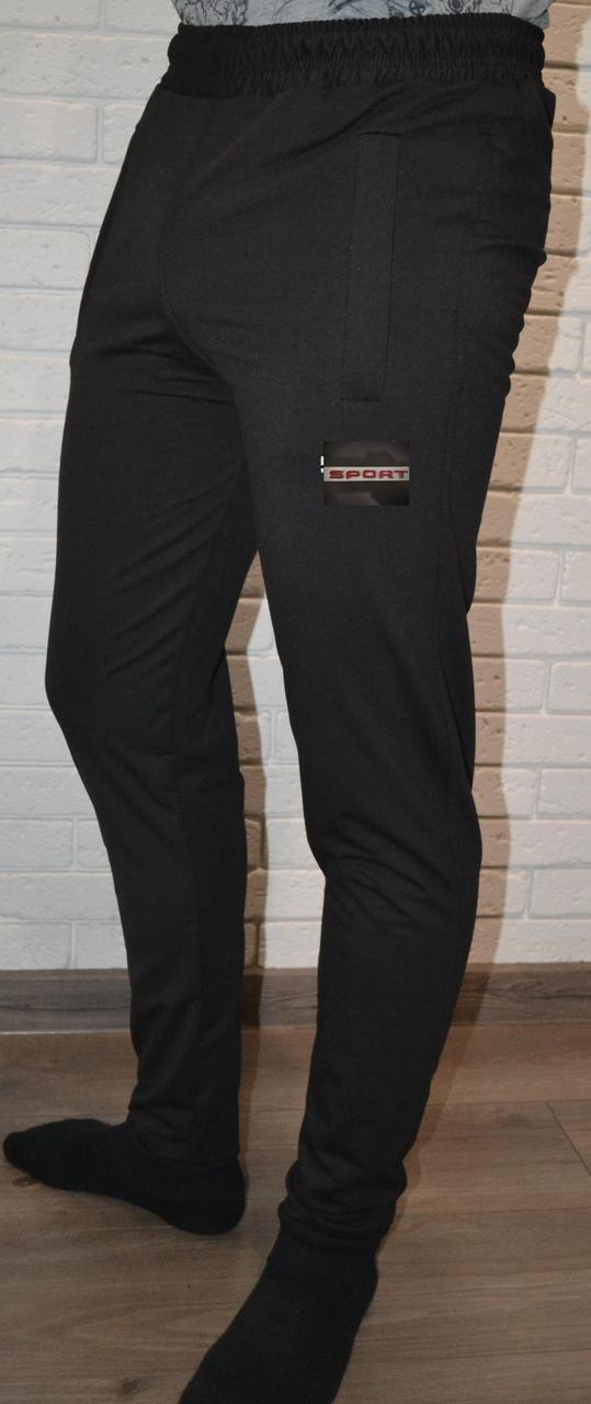"""Чорні трикотажні """"двунітка"""" молодіжні штани на манжетах (розміри від 46 до 52)"""