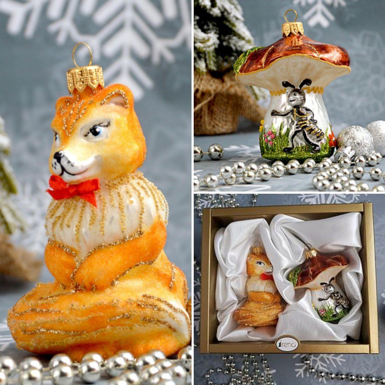 Набор стеклянных елочных игрушек Лиса и гриб Irena
