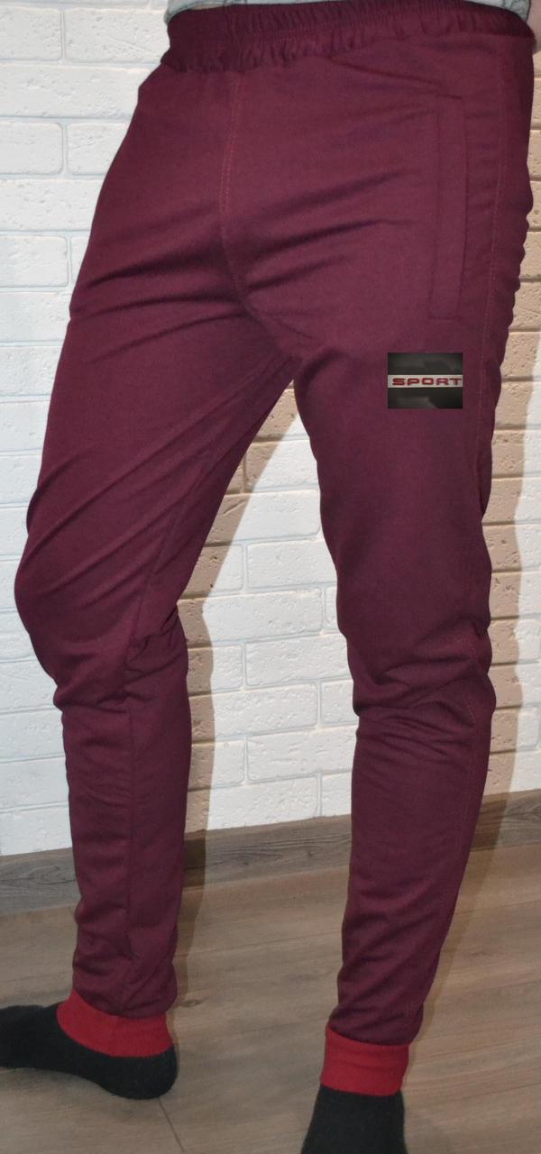 """Бордові трикотажні """"двунітка"""" молодіжні штани на манжетах (розміри від 46 до 52)"""