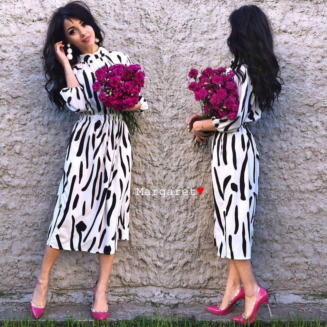 b594bdc07b8 Легкое платье миди белого цвета с принтом  продажа