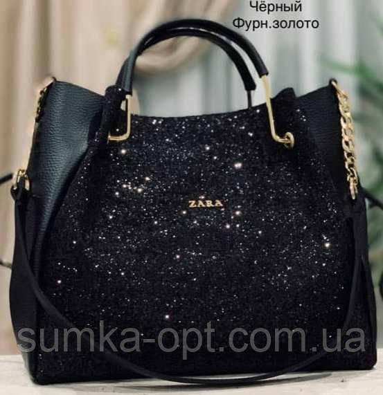 1e79bde957ef Брендовые сумки с длинным ремешком Zara (черный блестки)33*26см ...