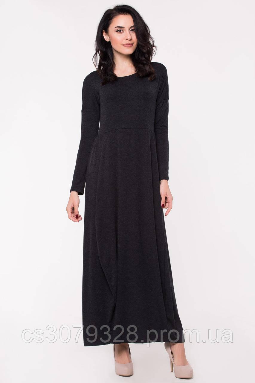 1ee05b0dd86 Трикотажное черное платье-баллон DORIS с широкой юбкой и длинными рукавами  - Интернет-магазин