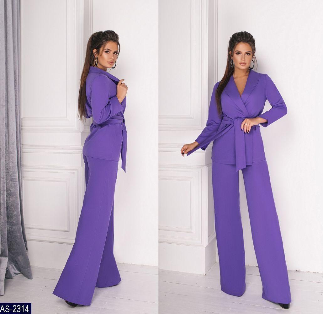 e3d178502 Женский красивый однотонный брючный костюм с пиджаком,брюки средней посадки  (костюмка) 3 цвета