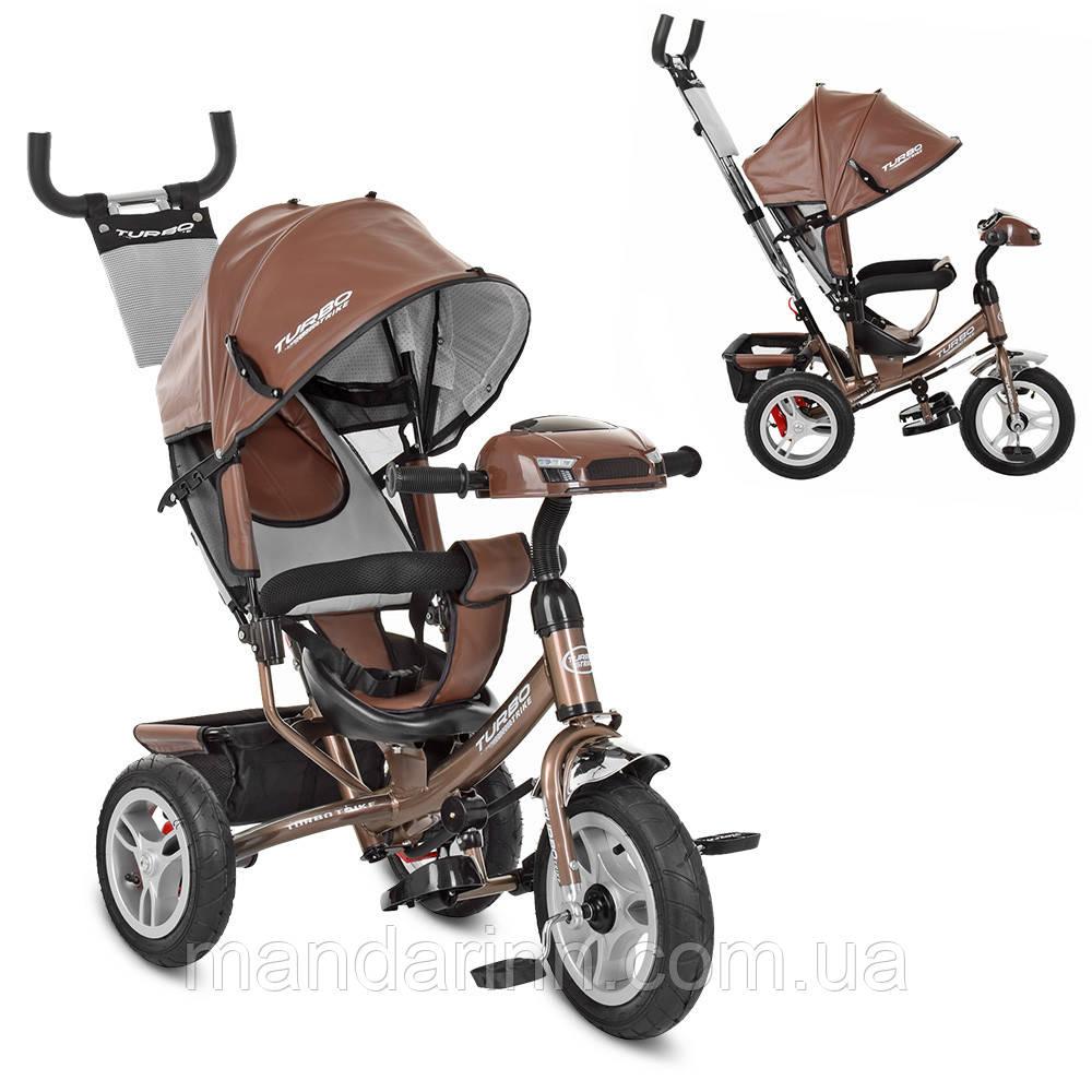 Детский Трехколесный велосипед-коляска с фарой ТурбоM 3115HAL-13. Экокожа, Шоколад.