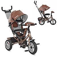 Детский Трехколесный велосипед-коляска с фарой ТурбоM 3115HAL-13. Экокожа, Шоколад., фото 1