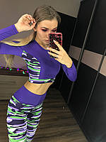 Спортивный женский костюм милитари для фитнеса оптом