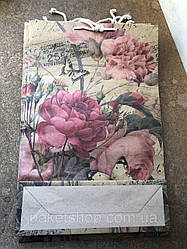 Подарочный (КРАФТ) пакет БОЛЬШОЙ ВЕРТИКАЛЬНЫЙ ''Цветы'' 25*36*8 см