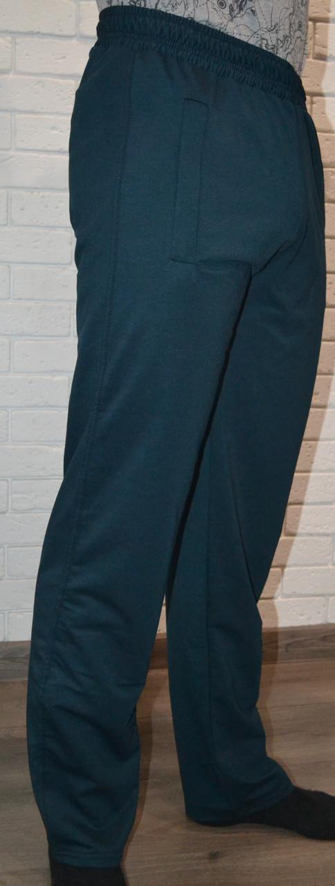 """Темно-зелені прямі трикотажні """"двунітка"""" спортивні штани (розміри від 46 до 52)"""