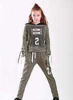 Модный спортивный костюм для девочки 8-11 лет (реглан+брюки) р. 128-146 ТМ Marions 5538.04 хаки, фото 1