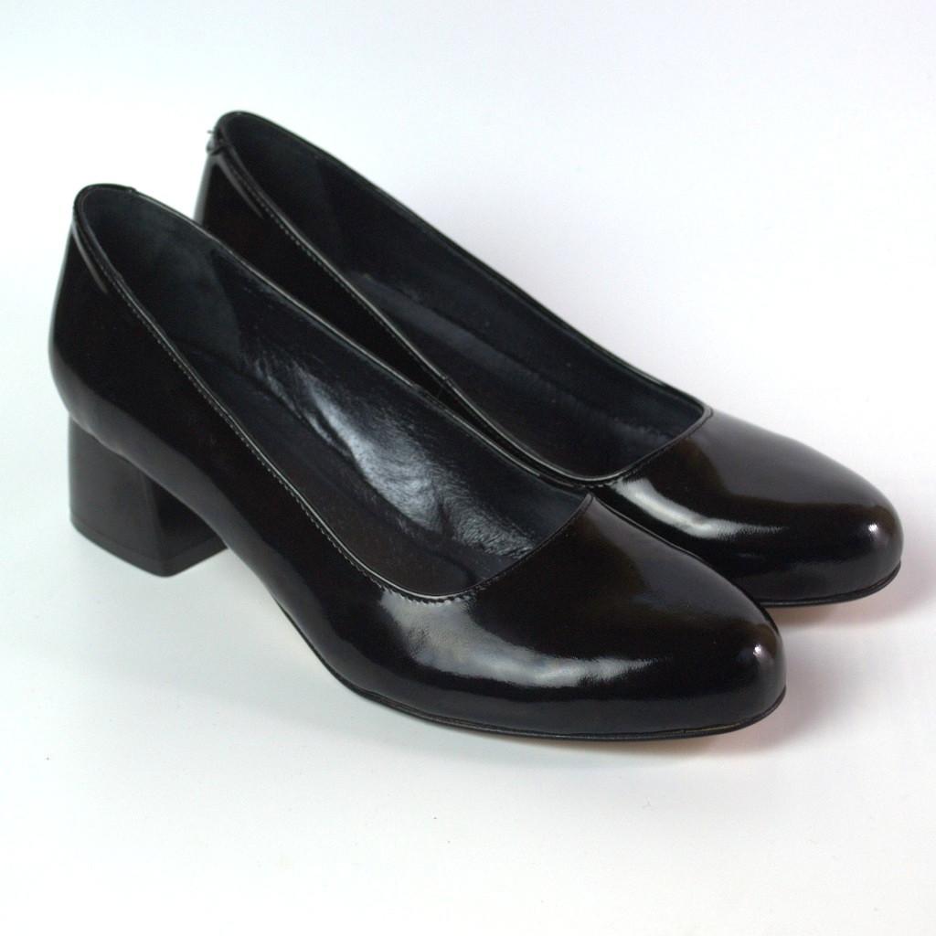 Туфли лаковые черные женская обувь больших размеров Puro Black Lether BS by Rosso Avangard