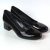 Туфли лаковые классические кожаные лодочка большой размер женская обувь Puro Black Lether BS by Rosso Avangard