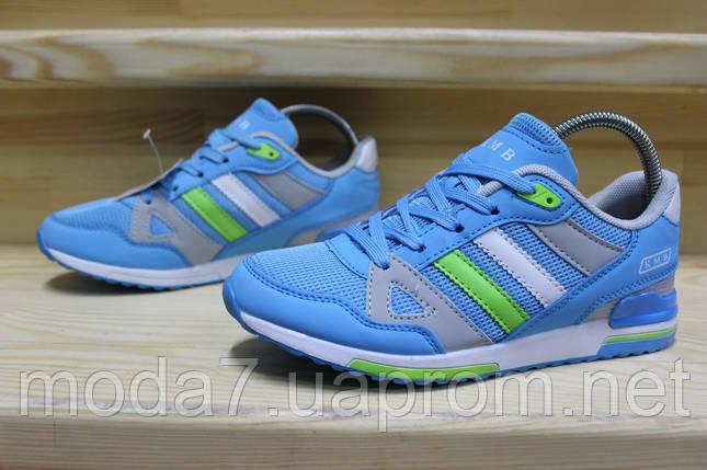 Женские подростковые кроссовки Adidas сетка голубые реплика, фото 2