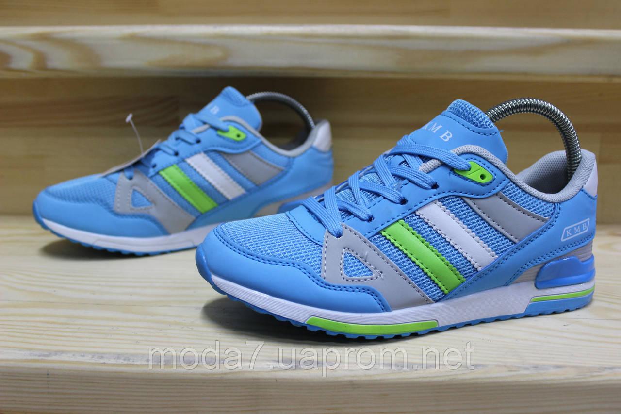 Женские подростковые кроссовки Adidas сетка голубые реплика