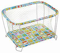 Манеж детский игровой KinderBox классический Веселая ферма с крупной сеточкой (kmk 2226)