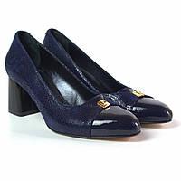 Туфлі жіноче взуття великих розмірів Pyra V Gold BS Blu Lether by Rosso Avangard шкіра сині човники, фото 1