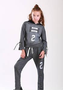 Модний спортивний костюм р. 128 для дівчинки 8 років (реглан+штани) р. 128 ТМ Marions 5538.05 сірий