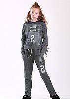 Модный спортивный костюм для девочки 8, 10,11 лет (реглан+брюки) р. 128-146 ТМ Marions 5538.05 серый