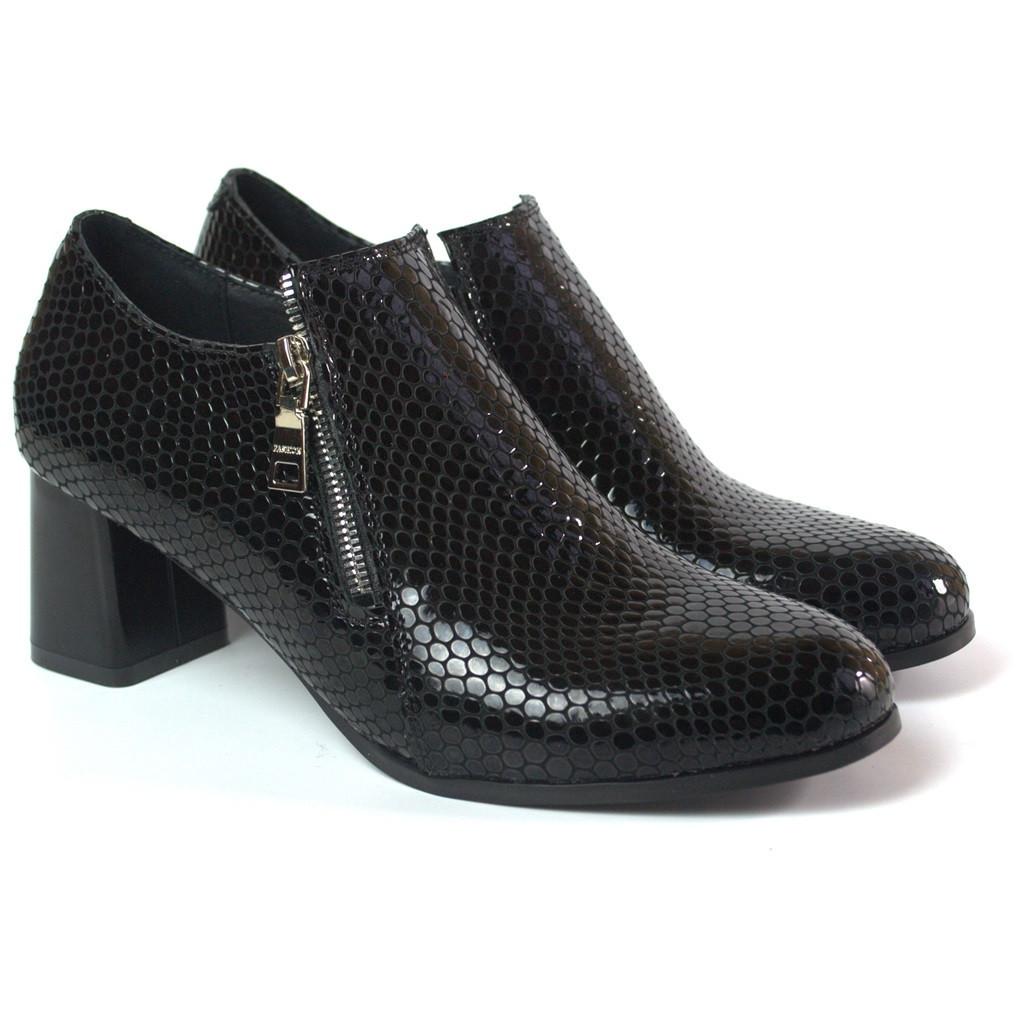 Туфли женские на каблуке Eterno Zipript Black Lether by Rosso Avangard черные змеиный узор
