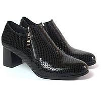Туфлі жіночі на підборах Eterno Zipript Black Lether by Rosso Avangard чорні зміїний візерунок