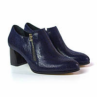 Туфлі на підборах сині жіноче взуття великих розмірів Eterno Zipript Blu Lether by Rosso Avangard