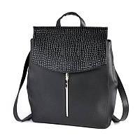 Молодежная сумка-рюкзак М173-48/14 черный трансформер через плечо, фото 1