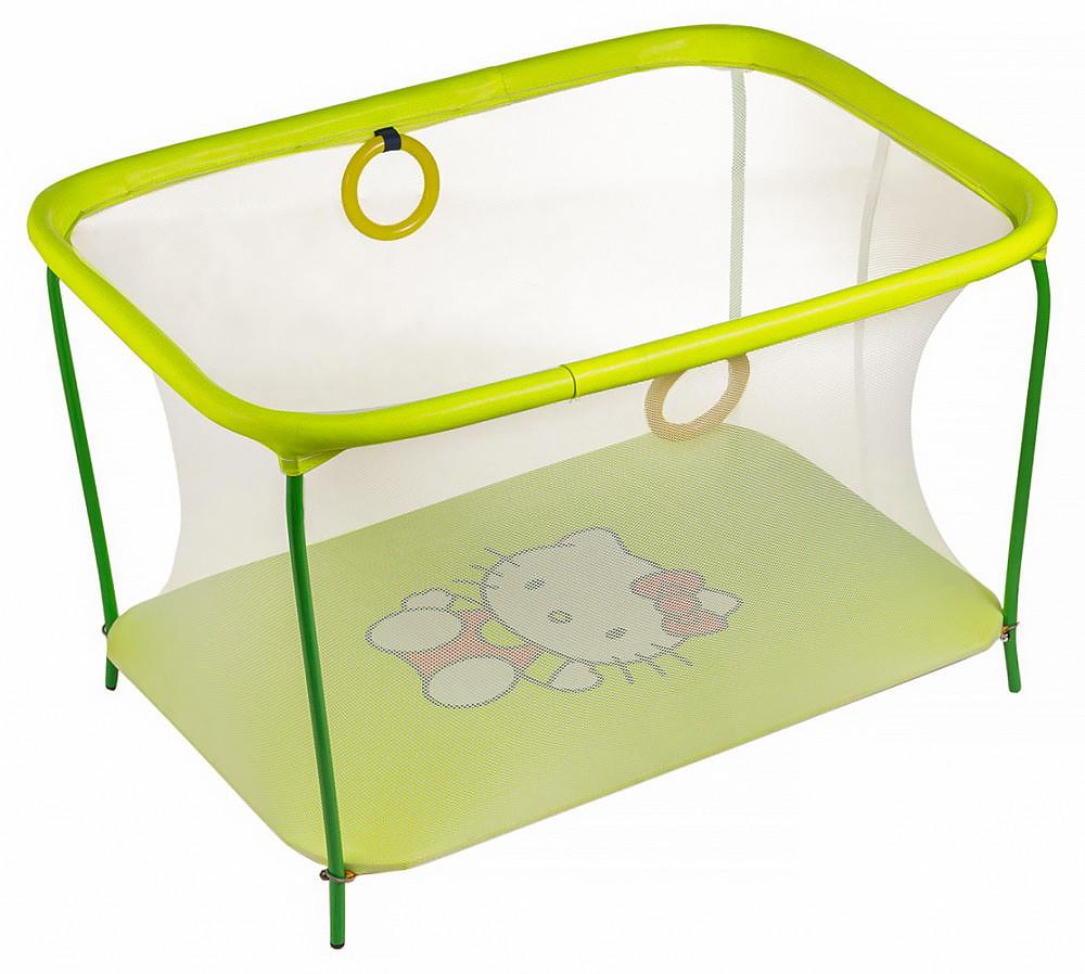 Манеж детский игровой KinderBox люкс Желтый Hello Kitty с мелкой сеткой (km 78)