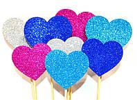 ТОППЕР на палочке СЕРДЕЧКО 5СМ Сердце Глиттер Микс Цветов Блестящий Топперы для Торта Топер на капкейки декор
