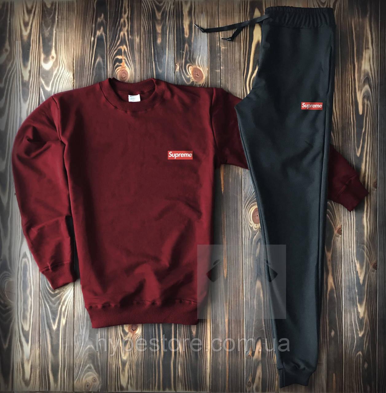 Мужской весенний спортивный костюм, чоловічий костюм Supreme, суприм (бордо+черный), Реплика