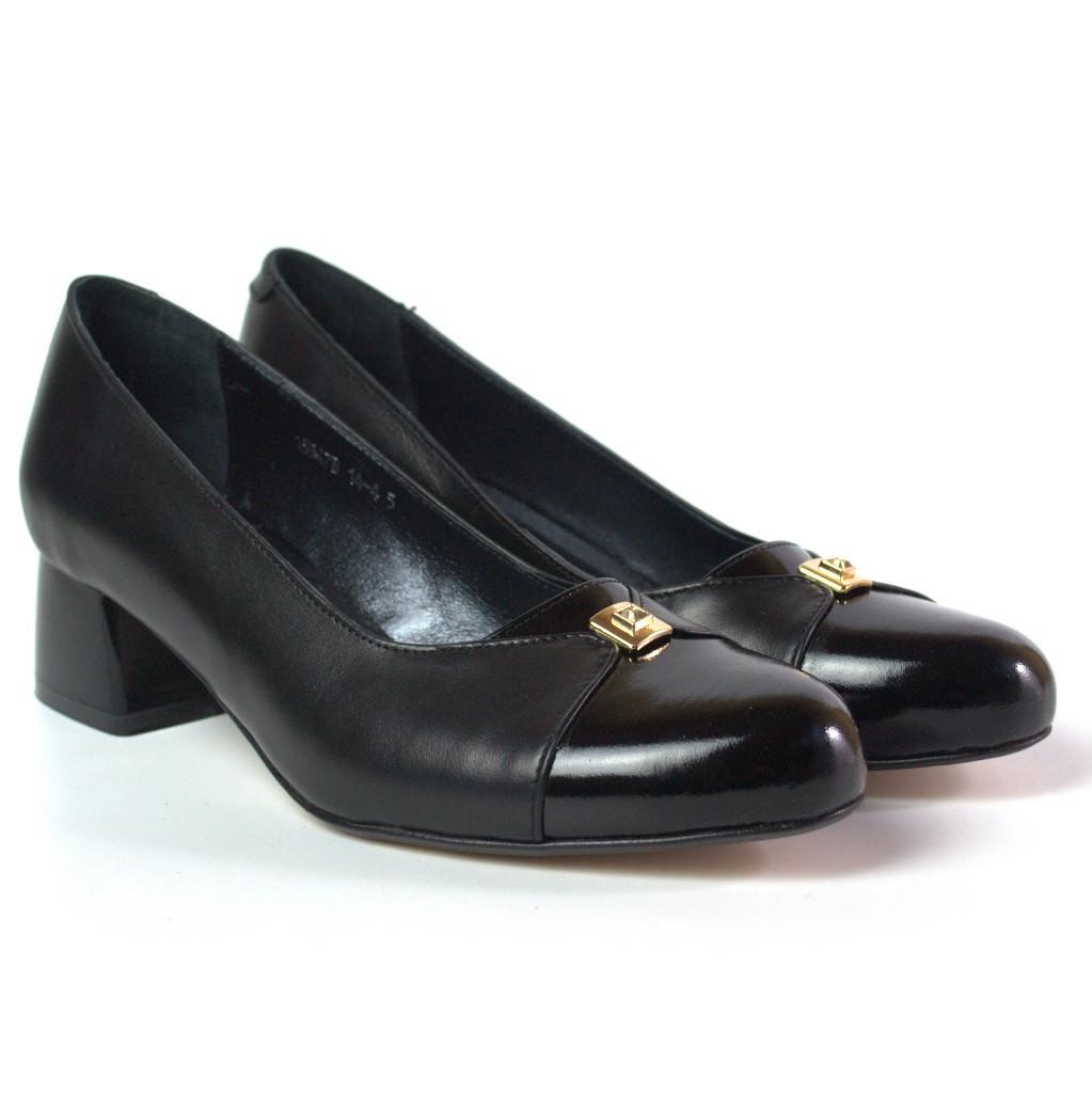 Туфли лодочка женские на каблуке Pyra V Gold Black Lether by Rosso Avangard кожаные черные