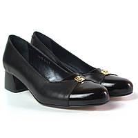 Туфли лодочка женские на каблуке Pyra V Gold Black Lether by Rosso Avangard кожаные черные, фото 1