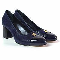 Туфлі човник жіночі на підборах Pyra V Gold Blu Lether by Rosso Avangard шкіряні сині