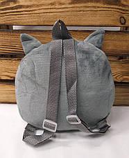"""Детский тканевой рюкзак серого цвета, с принтом """"Котик"""", регулируемые лямки , фото 2"""