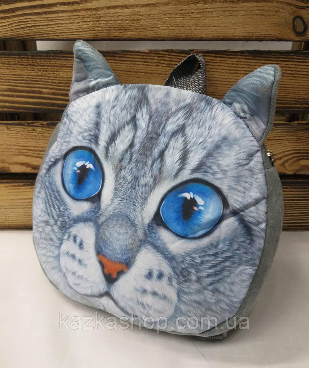"""Детский тканевой рюкзак серого цвета, с принтом """"Котик"""", регулируемые лямки"""