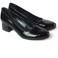 Туфли лаковые классические кожаные лодочка женские Puro Black Lether by Rosso Avangard