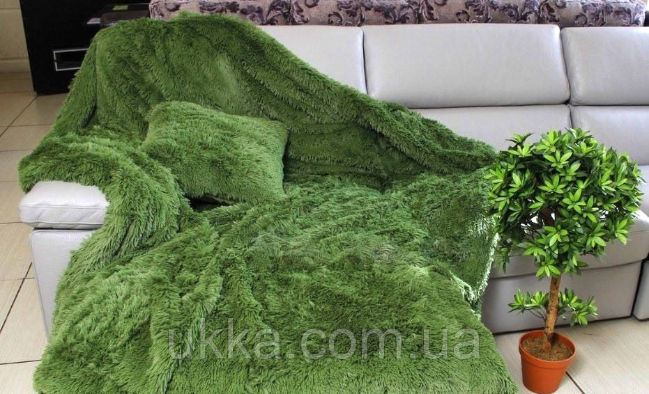 Покрывало меховое травка с большим ворсом полуторное зеленое