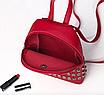 Рюкзак женский мини с заклепками Серый, фото 6