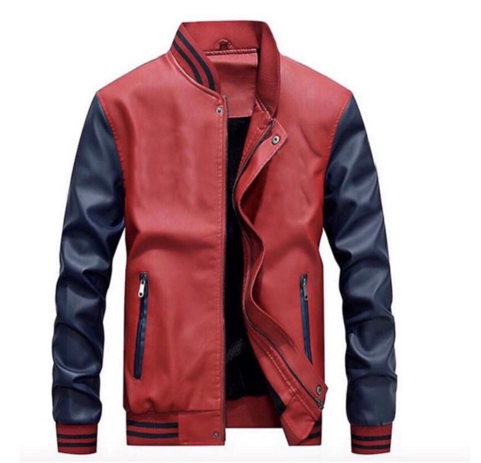 a736b28a853 Мужская весенняя кожаная куртка бомбер на змейке из искусственной кожи -  AMONA интернет-магазин модной