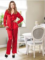 Женская пижама,красная , шелковая производство-Турция, s-m,l-xl