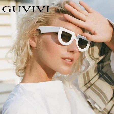 """Желтые солнцезащитные очки в форме """"wayfarer"""", белая оправа, фото 2"""