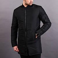 Мужская демисезонная длинная куртка Baterson Strong черная Отличное качество 717edf01be378