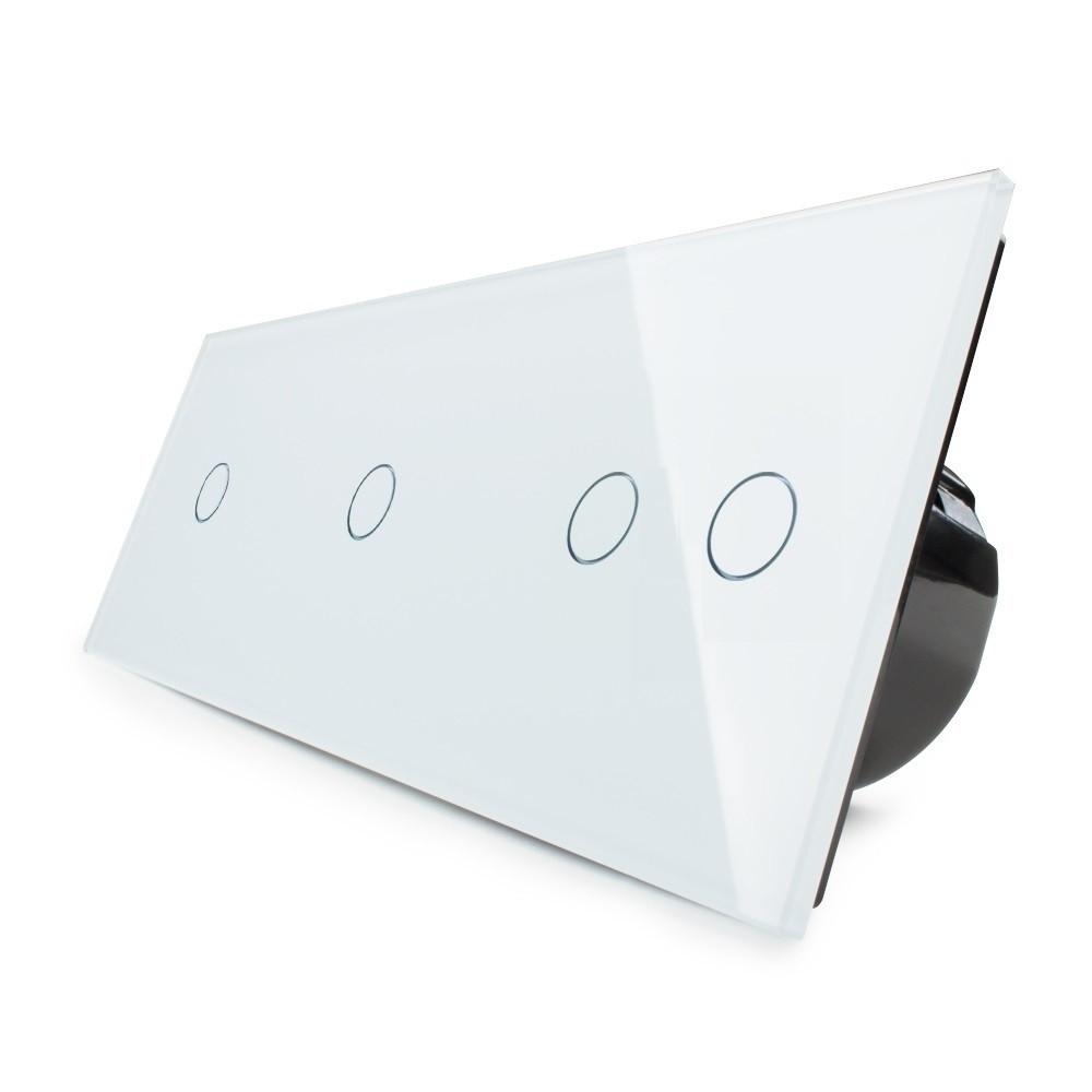 Сенсорный выключатель Livolo 1-1-2, цвет белый, стекло (VL-C701/C701/C702-11), фото 1