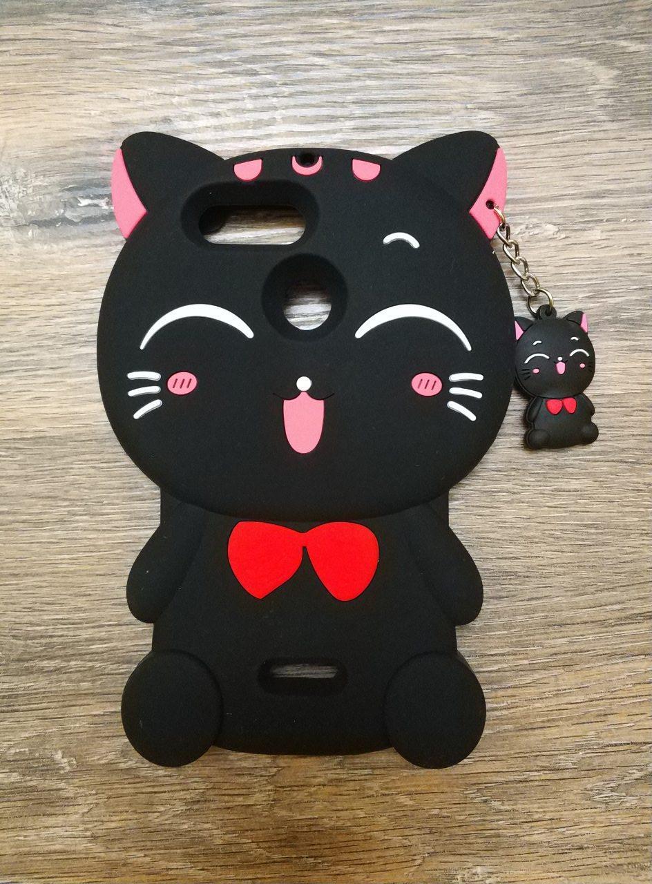 Объемный 3d чехол для Xiaomi Redmi 6a Кошечка черная