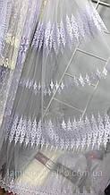 Фатиновая тюль с нежными полями 2104 белого цвета