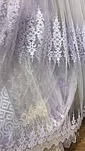Фатиновая тюль с нежными полями 2104 белого цвета, фото 2