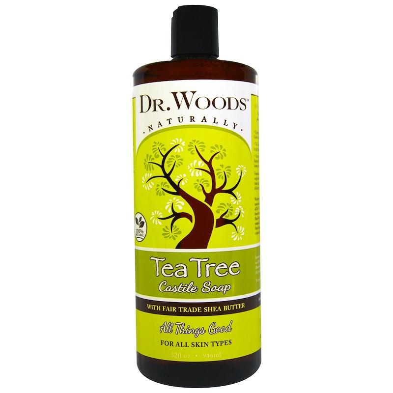 """Кастильское мыло чайного дерева Dr. Woods """"Tea Tree Castile Soap"""" с маслом Ши (946 мл)"""