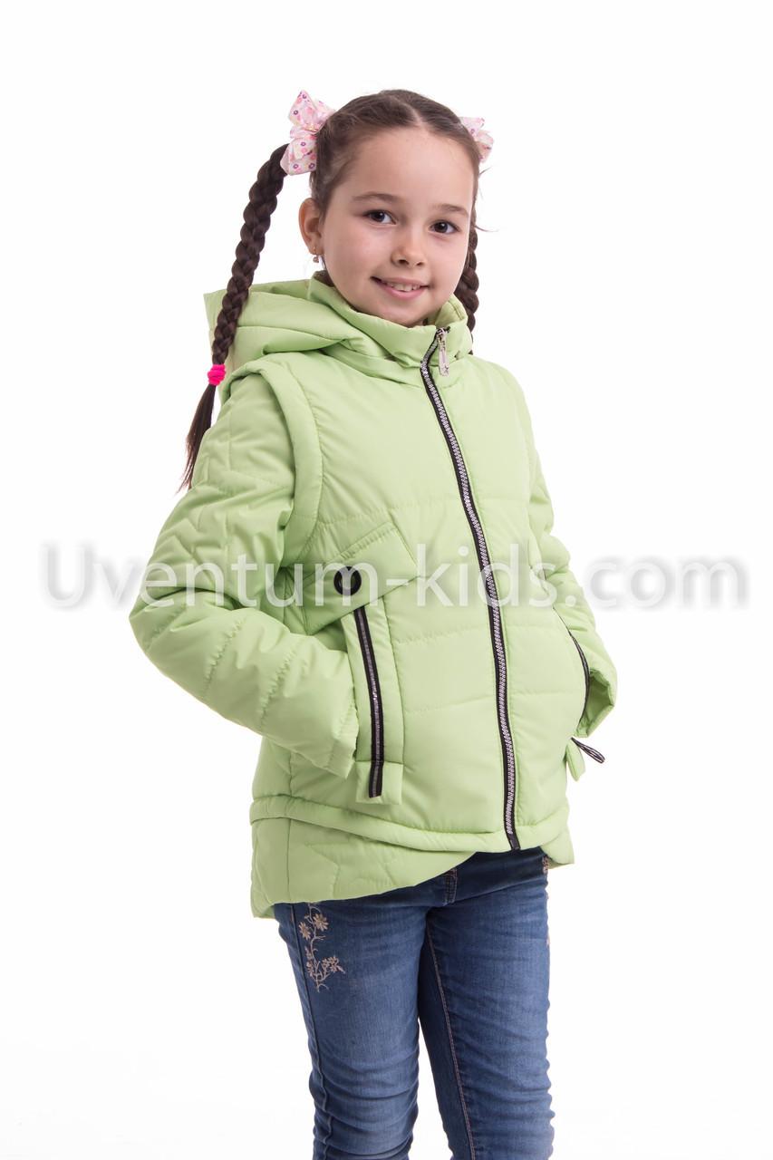 Демисезонная куртка на подростка девочка  32-42 салат