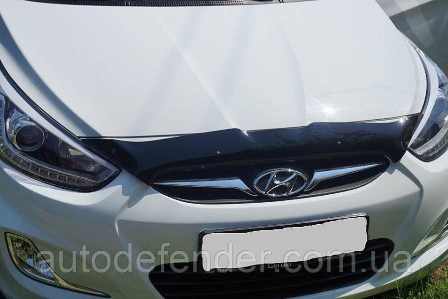 Дефлектор капота (Люкс!) мухобойка Hyundai Accent 2010-2014 короткий Solaris, SIM, SHYSOL1012S