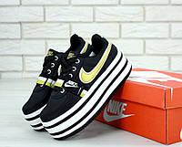 Женские кроссовки Nike Vandal Black White (высокая подошва)