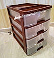 Комод міні настільний пластиковий 4 ящики, Україна, коричневий, фото 2